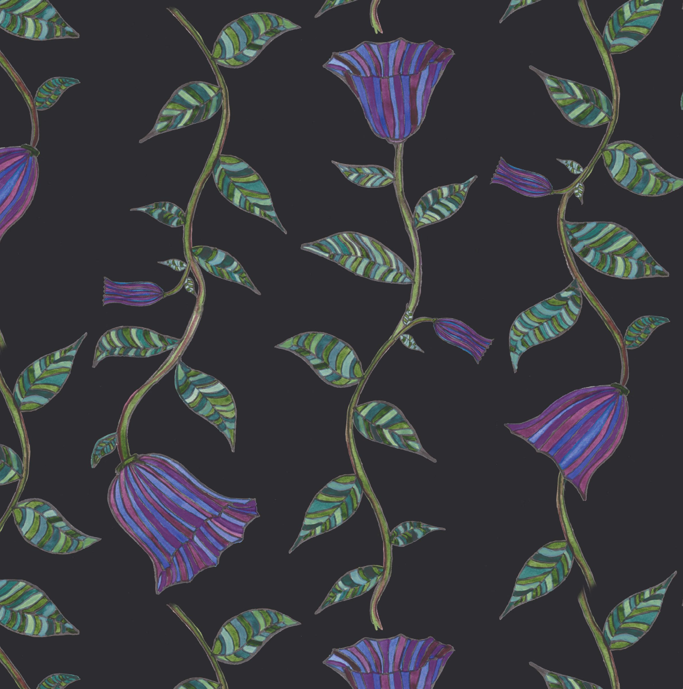 art deco floral black