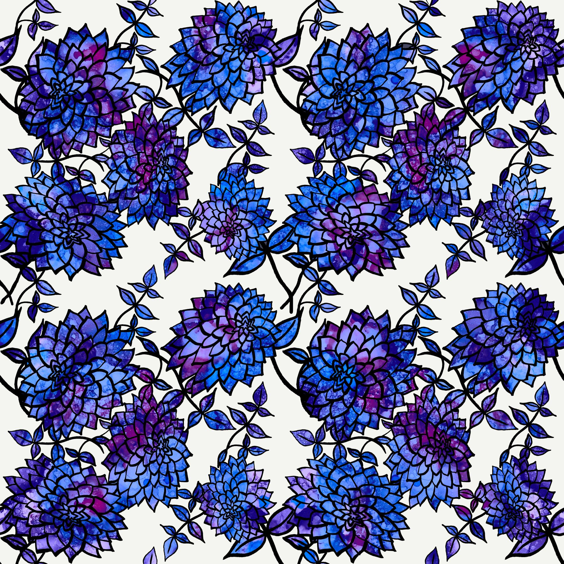dahlia tile-blue & purple on white